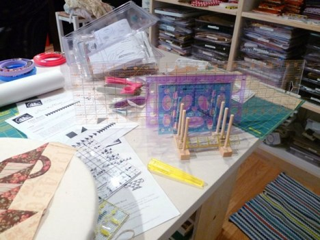 I also keep a small napkin/ruler holder on my work table for the rulers I need during a given project